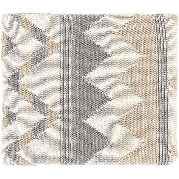 Adara Khaki Ivory Charcoal 32 x 60 Inch Throw, image 1