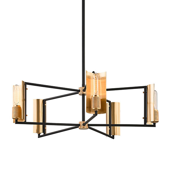 Cleo Black and Brass Five-Light Chandelier, image 1