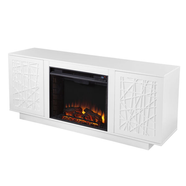 Delgrave White Electric Fireplace with Media Storage, image 2