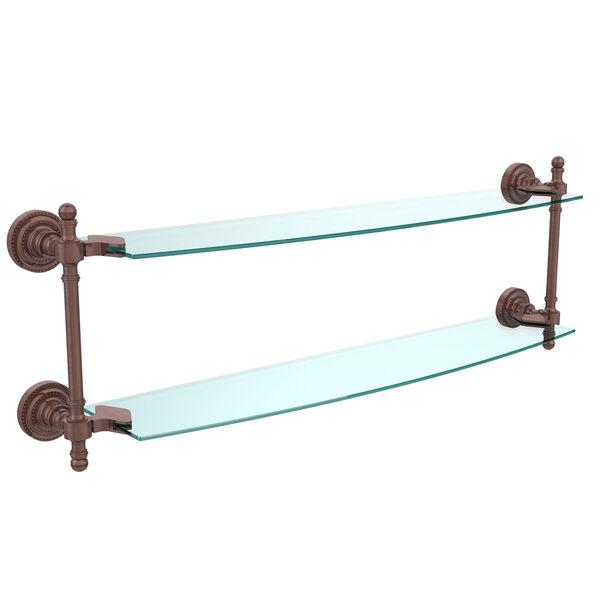 Retro Dot Antique Copper 24 Inch x 5 Inch Double Glass Shelf, image 1