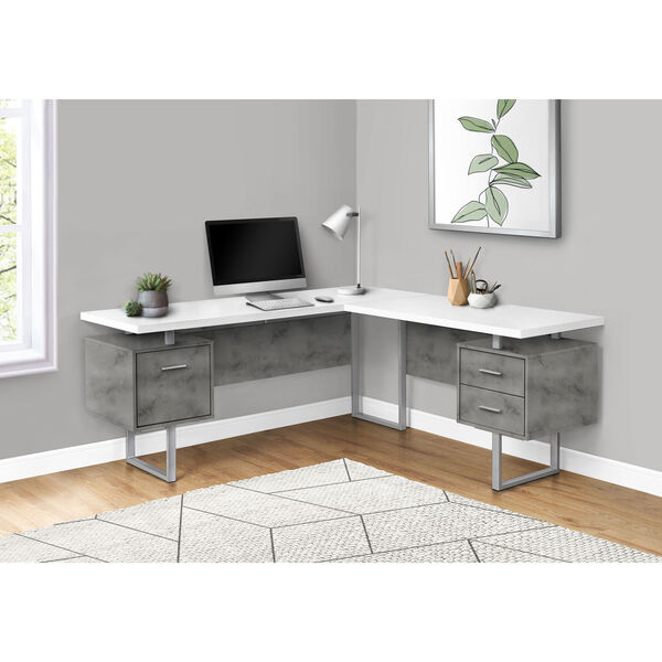 White and Black 71-Inch L-Shaped Computer Desk, image 2