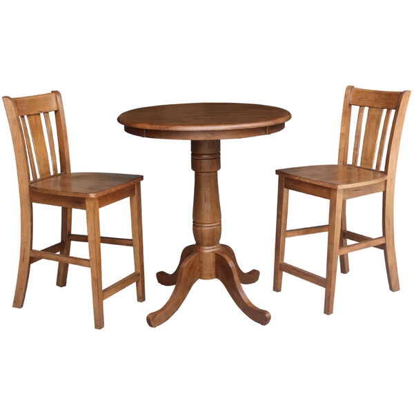 San Remo Distressed Oak 30-Inch Round Top Pedestal Gathering Table with Two Counter Height Stool, Set of Three, image 2