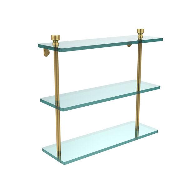 Polished Brass Triple glass Shelf 16 Inch, image 1