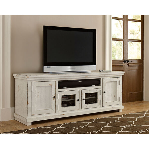 Willow Distressed White 74-Inch Console, image 1