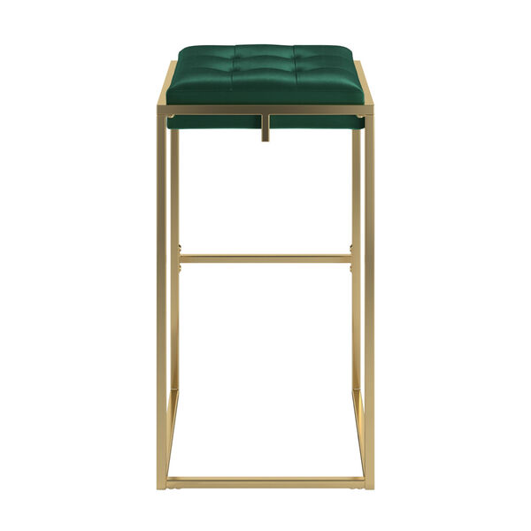 Minnie Gold and Green Velvet Button Tufted Bar Stool, Set of Two, image 4