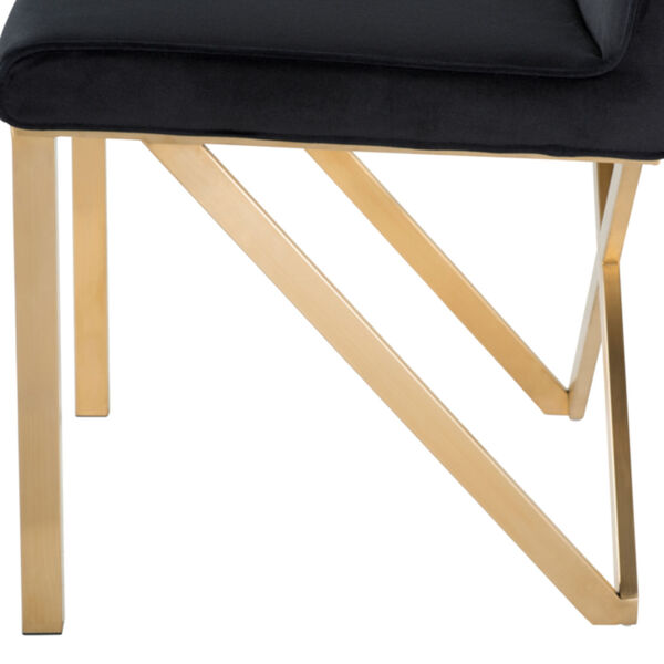 Talbot Black and Brushed Gold Dining Chair, image 4