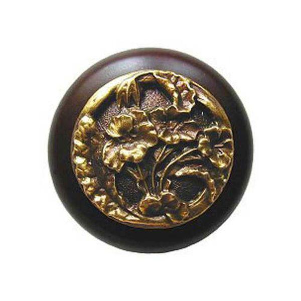 Dark Walnut Wood Hibiscus Knob with Antique Brass, image 1