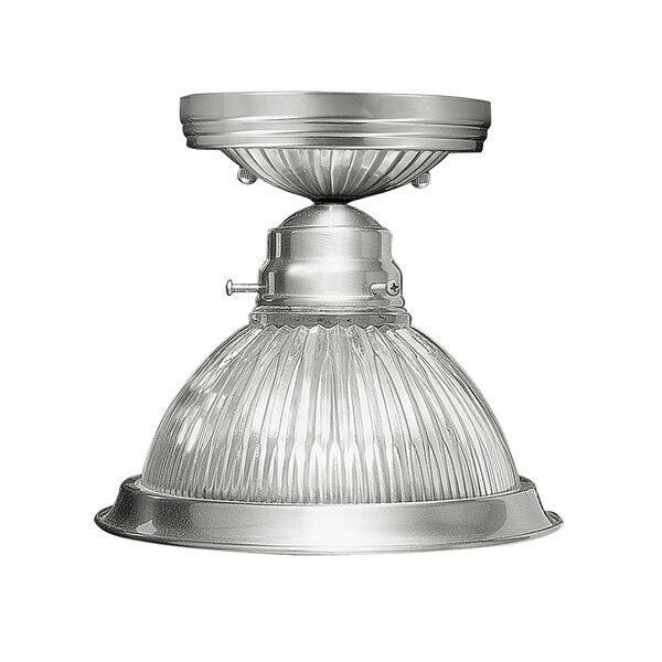 Home Basics Brushed Nickel Single Light Ceiling Mount, image 1