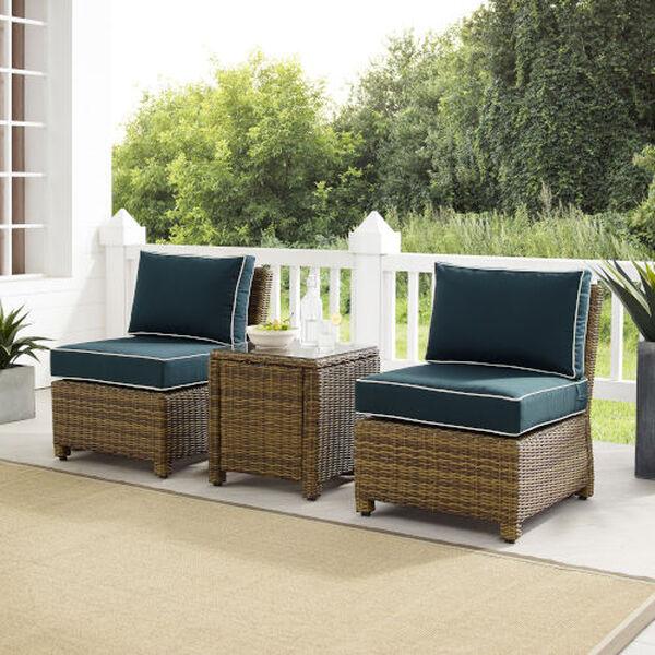 Bradenton Navy Weathered Brown Three-Piece Outdoor Wicker Chair Set, image 1