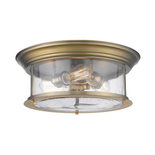 Sonna Heritage Brass Three-Light Flush Mount with Transparent Seedy Glass, image 1