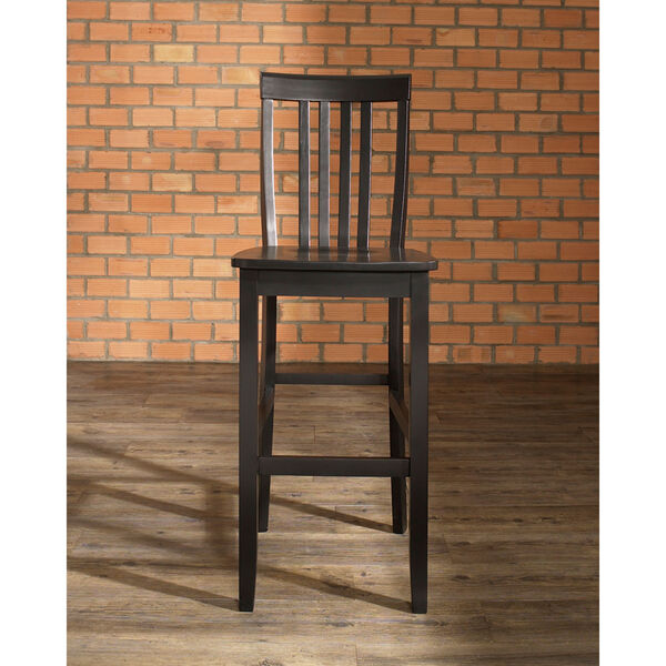 School House Bar Stool in Black Finish with 30 Inch Seat Height- Set of Two, image 5