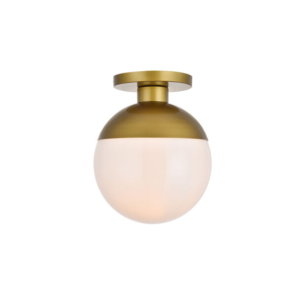Eclipse Brass and Frosted White 12-Inch One-Light Semi-Flush Mount, image 1
