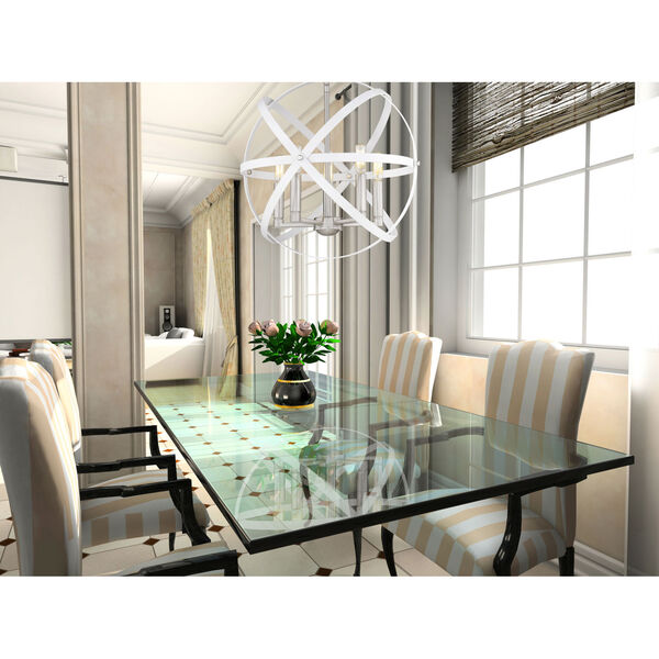 Cavallo Hammered White and Brushed Nickel Five-Light Chandelier, image 2