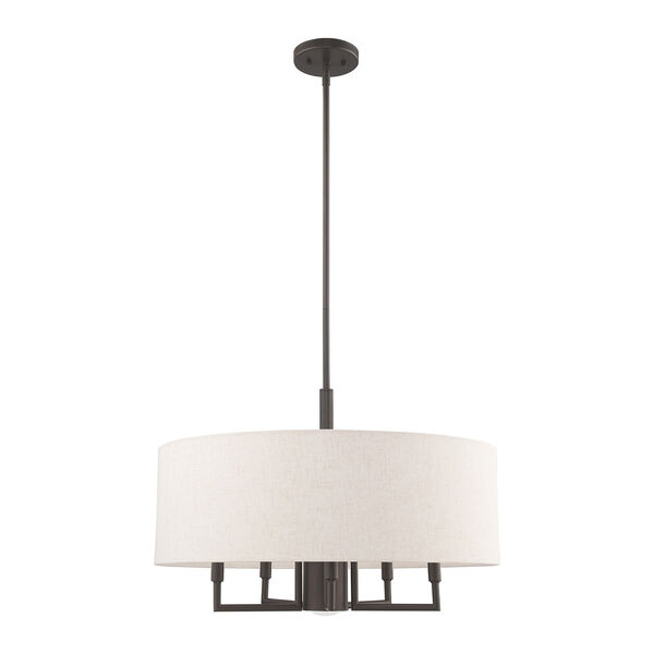 Meridian English Bronze 24-Inch Six-Light Pendant Chandelier with Hand Crafted Oatmeal Hardback Shade, image 2