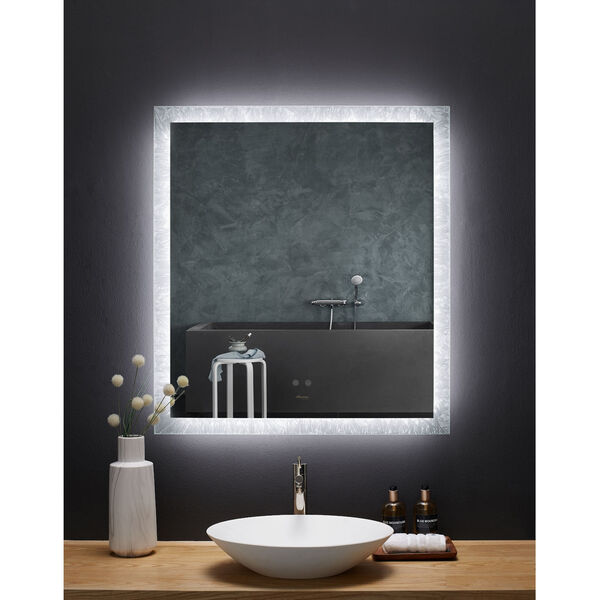 Frysta White 30 x 40 Inch LED Frameless Rectangualar Mirror with Dimmer and Defogger, image 1