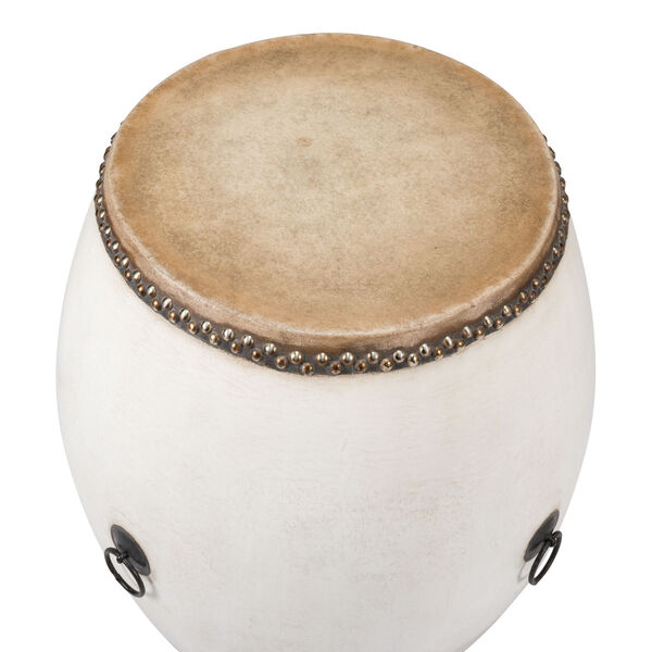 White Drum End Table, image 3