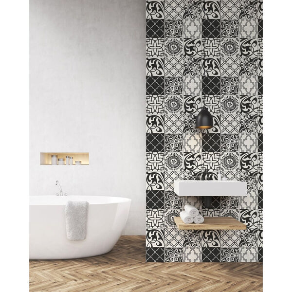 NextWall Black and White Graphic Tile Peel and Stick Wallpaper, image 4