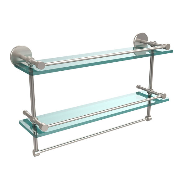 22 Inch Gallery Double Glass Shelf with Towel Bar, Satin Nickel, image 1