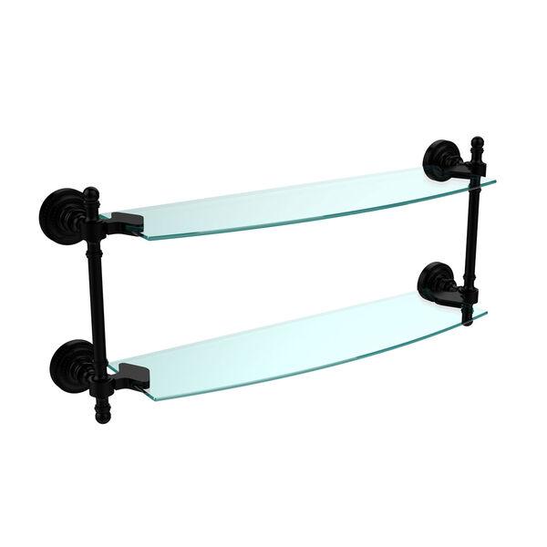 Retro Dot Matte Black 18 Inch x 5 Inch Double Glass Shelf, image 1