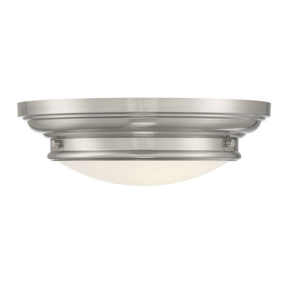 Whittier Brushed Nickel Two-Light Flush Mount with Round Glass, image 1