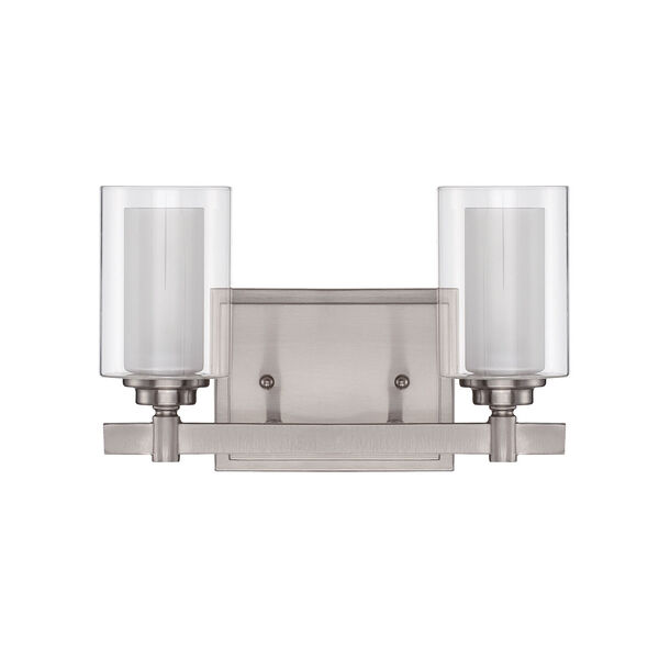 Celeste Brushed Polished Nickel Two-Light Vanity with Frosted Glass, image 1