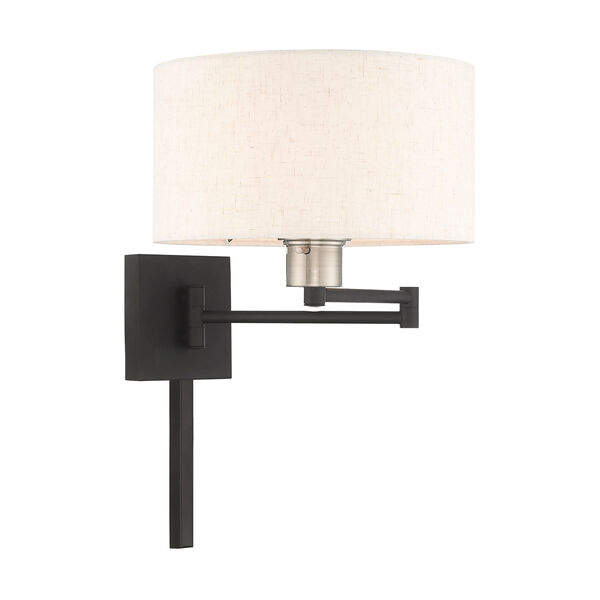 Swing Arm Wall Lamps Black 11-Inch One-Light Swing Arm Wall Lamp with Hand Crafted Oatmeal Hardback Shade, image 4