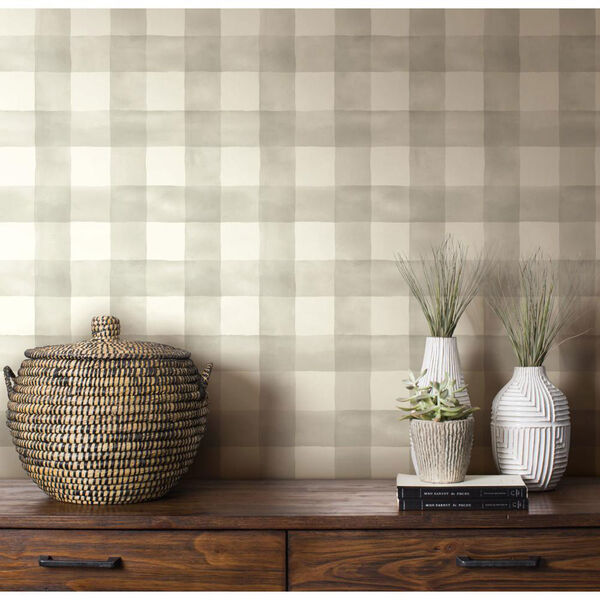 Watercolor Check Gray and White Removable Wallpaper, image 1