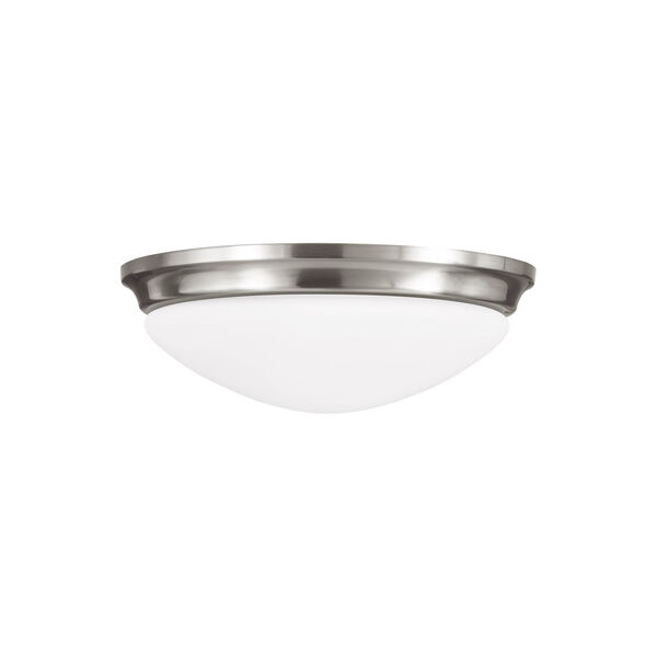 Barrington Brushed Steel Three-Light Flush Mount with White Opal Etched Shade, image 1