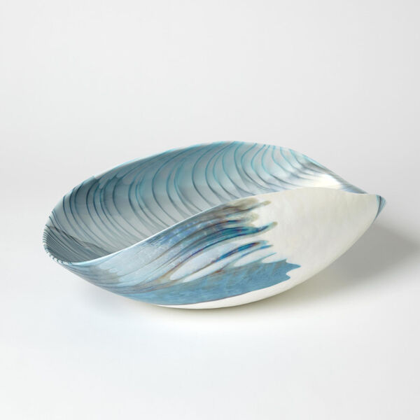 Ivory and Turquoise 10-Inch Feather Swirl Oval Bowl, image 1
