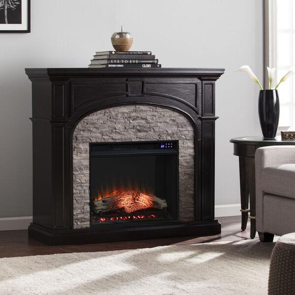 Tanaya Ebony Electric Fireplace with Faux Stone, image 1