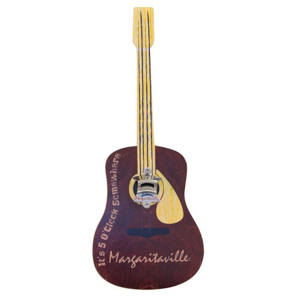 Brown Guitar Bottle Opener Sign with Magnetic Cap Catcher, image 1