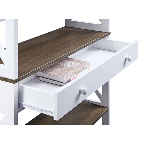 Oxford Driftwood White Five-Tier Bookcase with Drawer, image 4