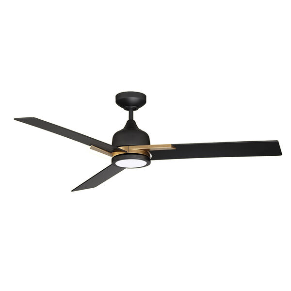 Triton Black and Oilcan Brass LED Ceiling Fan with Black Blades, image 1