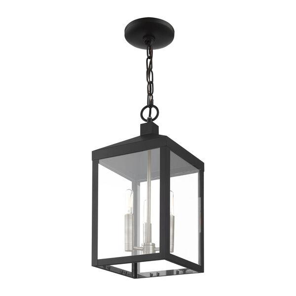 Nyack Black and Brushed Nickel Cluster Three-Light Outdoor Pendant Lantern, image 6