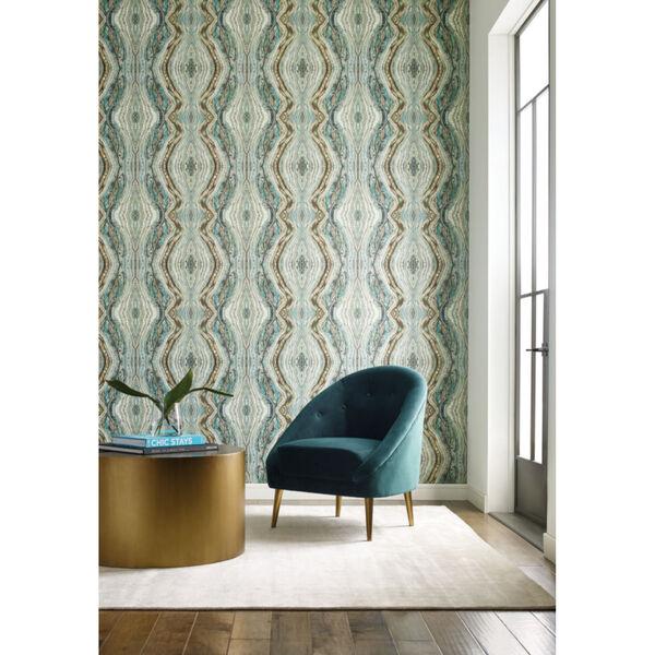 Antonina Vella Elegant Earth Teal Kaleidoscope Bohemian Wallpaper, image 4