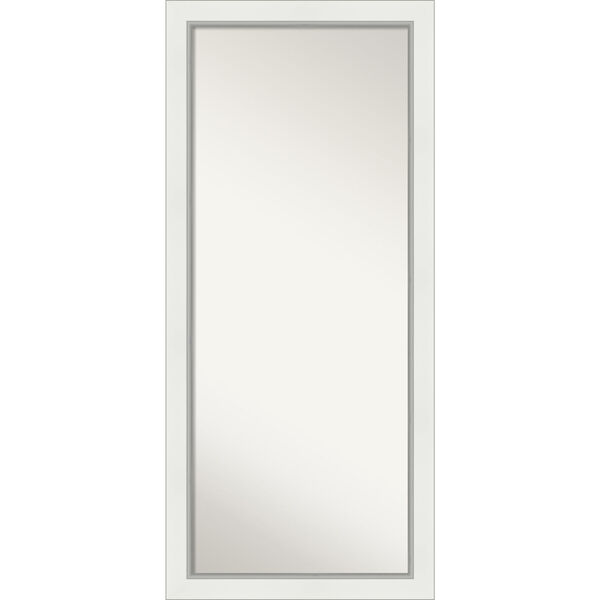 Eva White and Silver 29W X 65H-Inch Full Length Floor Leaner Mirror, image 1