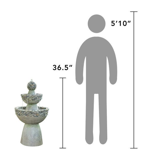 Stone Grey Outdoor Garden Zen Three - Tier Waterfall Fountain, image 5