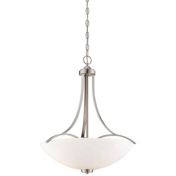 Everly Brushed Nickel Three-Light Bowl Pendant, image 1
