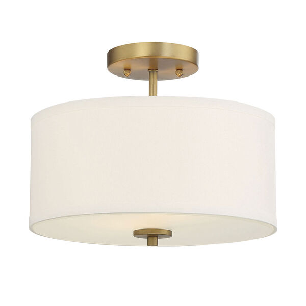 Selby Natural Brass Two-Light Semi Flush Mount with White Fabric Shade, image 3