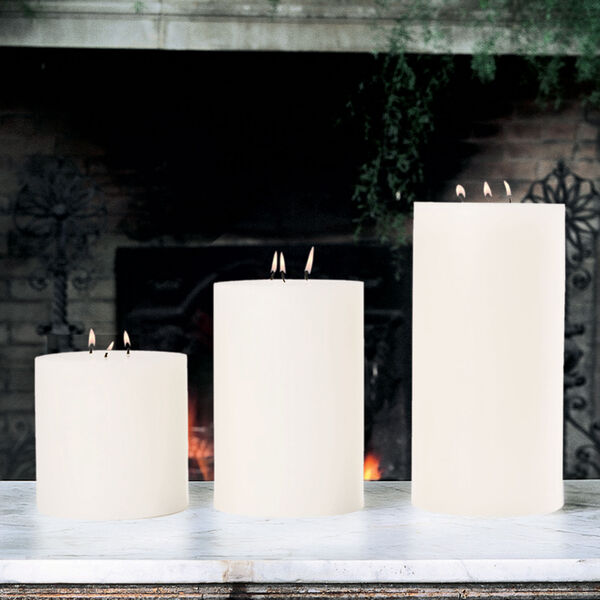 3-Wick Unscented Pillar Candle - 6 x 9, image 1