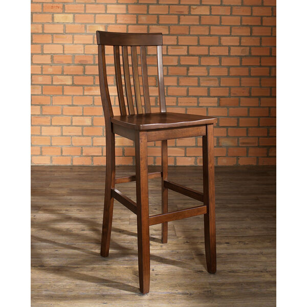 School House Bar Stool in Mahogany Finish with 30 Inch Seat Height- Set of Two, image 6