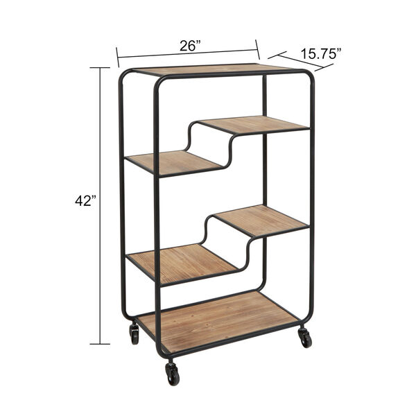 Gunmetal and Light Graphite Wood Multi-tiered Table Cart, image 3