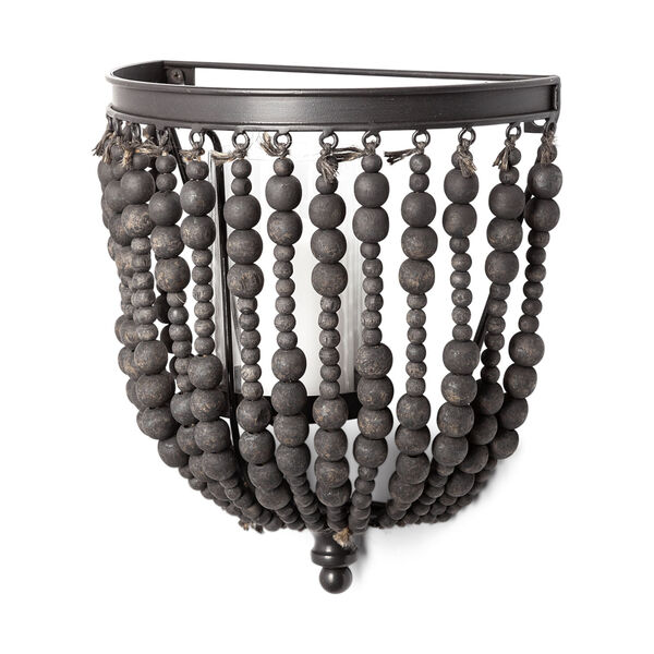 Liam II Black Wall Candle Holder with Wooden Bead, image 1