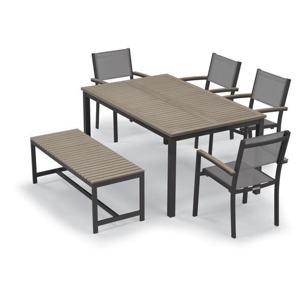 Travira Vintage Tekwood Top and Carbon Powder Coated Aluminum Frame 63-Inch Rectangular Dining Table, image 3
