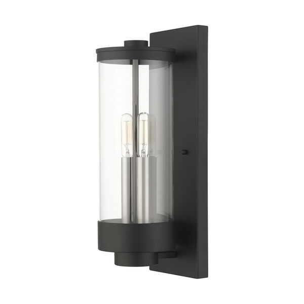 Hillcrest Textured Black Two-Light Outdoor Wall Lantern, image 2