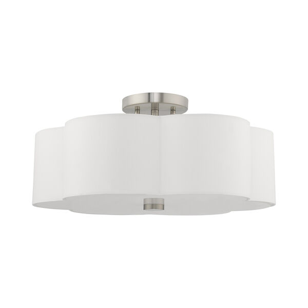 Chelsea Brushed Nickel 18-Inch Three-Light Ceiling Mount with Hand Crafted Off-White Hardback Shade, image 2