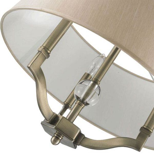 Waverly Antique Brass Convertible Semi-Flush with Silken Parchment Shade, image 5