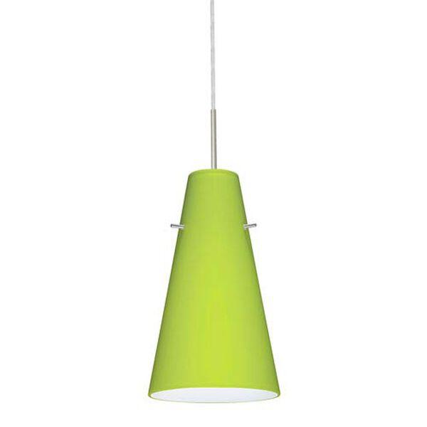 Cierro Satin Nickel One-Light Mini Pendant with Chartreuse Glass, image 1