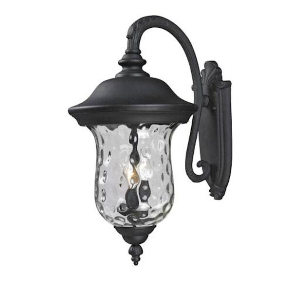 Armstrong Three-Light Black Outdoor Large Downward Wall Lantern with Clear Waterglass, image 1