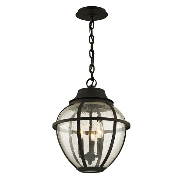 Bunker Hill Vintage Bronze Three-Light Outdoor Pendant with Clear Seeded Glass, image 1